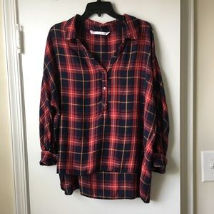 Plaid Zara half button Top